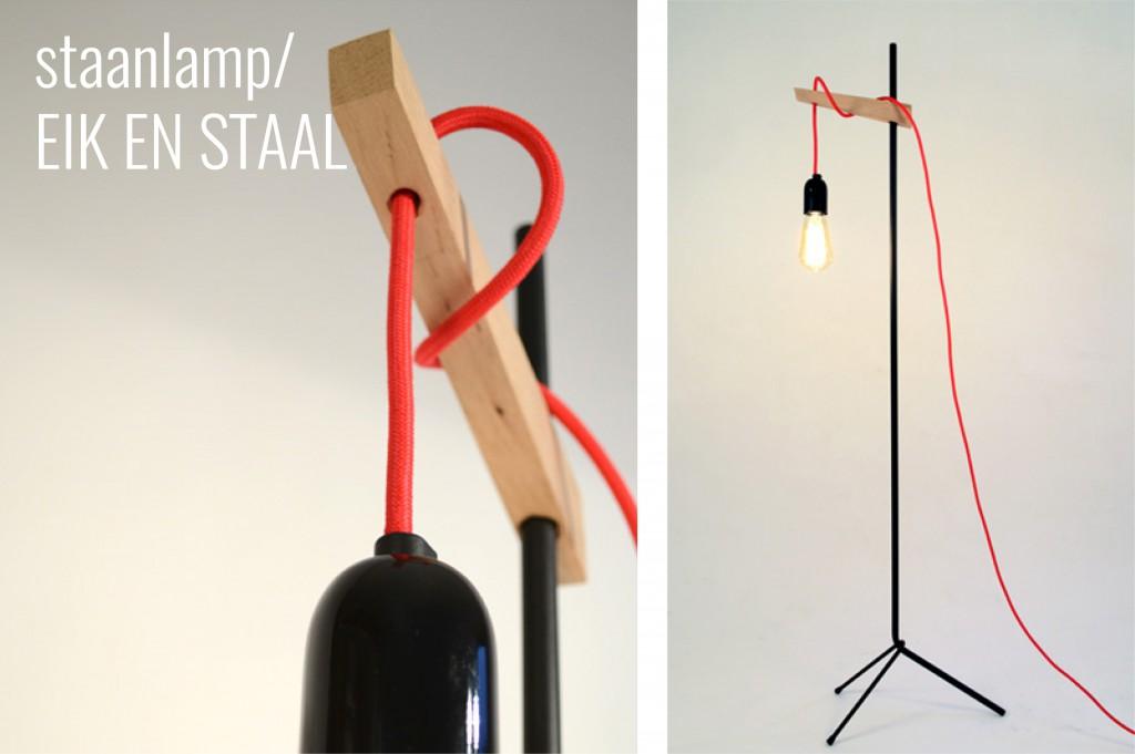 staanlamp eik en staal